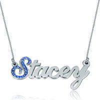 Name Necklace 925 Sterling Silver Sapphire Blue Crystal Custom Made Sterling Silver Pendant