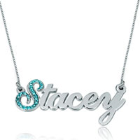 Pugster2014 Name Necklace 925 Sterling Silver Blue Crystal Custom Made Sterling Silver Pendant