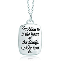 925 Sterling Silver Love Mom Rectangle Graffiti Pendant Necklace Sterling Silver Pendant