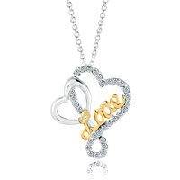 Sterling Silver White Crystal Heart In Heart Golden Love Pendant Necklace Sterling Silver Pendant