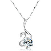 Swan 925 Sterling Silver Clear White Swarovski Elements Crystal Pendant Necklace