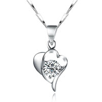 Open Heart Clear White Swarovski Elements Crystal 925 Sterling Silver Pendant Necklace