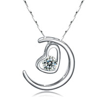 925 Sterling Silver Heart Love Crystal Gemstone Pendant Necklace Hot Sterling Silver Pendant
