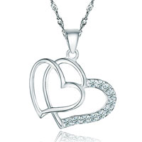 Diamond Accent 925 Sterling Silver Double Open Heart Pendant Necklace Gift Women
