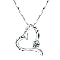 Round Asscher Cubic Zirconia Cz Diamond Accent 925 Sterling Silver Open Heart Pendant Necklace Gift Women