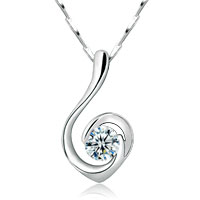 Womens 925 Sterling Silver Crystal Gemstone Chain Pendant Necklace Designed Sterling Silver Pendant