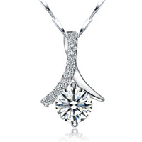 Womens 925 Sterling Silver Crystal Gemstone Chain Pendant Necklace Jewelry Sterling Silver Pendant