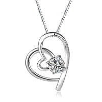 925 Sterling Silver Open Double Heart Gemstone Love Pendant Neckalce Ladies Sterling Silver Pendant