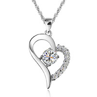 Open Heart Necklace 925 Sterling Silver Love Pendant Sparkle In Made Swarovski Elements