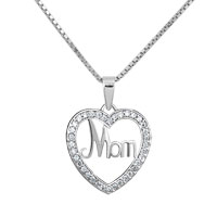 925 Sterling Silver Mom Diamond Accent Open Heart Love Mother Pendant Necklace 18