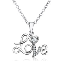 925 Sterling Silver Diamond Accent Heart Love Pendant Necklace 18