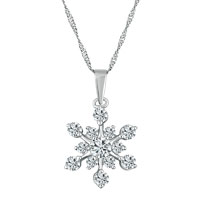 925 Sterling Silver Diamond Accent Winter Snowflake Pendant Necklace 18