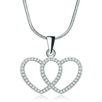 925 Sterling Silver Diamond Accent Double Open Hearts Cross Love Pendant Necklace 18
