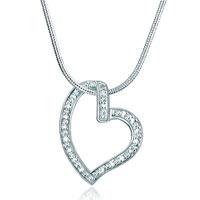 925 Sterling Silver Diamond Accent Open Heart Love Pendant Necklace 18