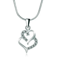 925 Sterling Silver Diamond Accent Double Open Heart Love Pendant Necklace 18