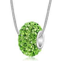 Peridot Green August Birthstone Swarovski Crystals Shamballa Ball Bead 925 Sterling Silver Core Charm Brands Charms Bracelets Pendant