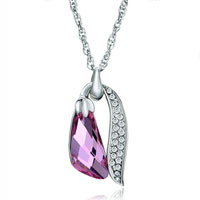 October Birthstone Swarovski Pink Crystal Utopian Drop Leaf Detailed Clear Pendant Necklace