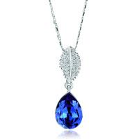 Classic February Birthstone Purple Swarovski Crystal Angel Teardrop Pendant Necklace
