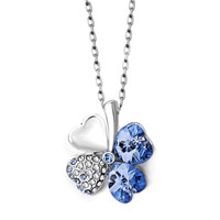 Sapphire Blue Crystal Heart Shaped Four Leaf Clover Pendant Necklace