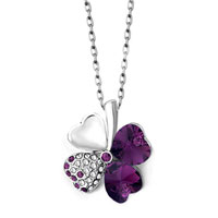 Amethyst Purple Swarovski Crystal Heart Shaped Four Leaf Clover Pendant Necklace