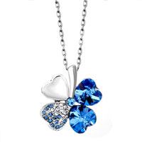 Aquamarine Blue Swarovski Crystal Heart Shaped Four Leaf Clover Pendant Necklace Earrings