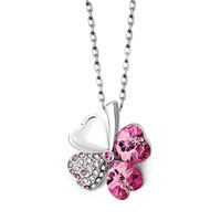 Rose Pink Swarovski Crystal Heart Shaped Four Leaf Clover Pendant Necklace Earrings
