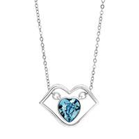 Silver Lip Heart March Birthstone Aquamarine Cz Crystal Pendant