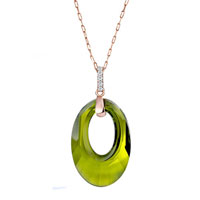 Classic May Birthstone Swarovski Green Crystal Oval Hollow Pendant Necklace For Women