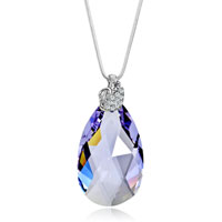Classic Swan Clear Detailed Crystal Violet Drop Pendant Gift