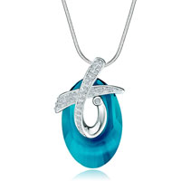 Cross Clear Crystal Carribbean Blue Opal Cosmic Oval Pendant Gift