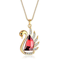 Golden Swan Clear Crystal January Birthstone Siam Swarovski Trapezoid Gift Pendant For Women