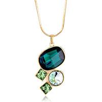 Oval Round Square Emerald Chrysolite Amp Peridot Rhinestone Swarovski Crystal Gift Pendant