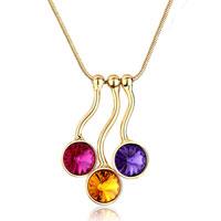 Triple Golden Round Fuchsia Topaz Tanzanite Rhinestone Swarovski Crystal Gift Pendant