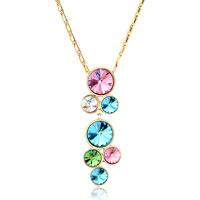 Round Combination Light Rose Clear Aquamarine Peridot Swarovski Rhinestone Crystal Gift Pendant