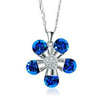 Flower Quintet Capri Blue Cz Rhinestone Crystal Clear Pistil Pendant