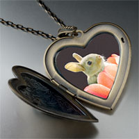 Necklace & Pendants - bunny in tulip large photo heart locket pendant necklace Image.