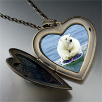 Necklace & Pendants - boogie boarding polar bear large photo heart locket pendant necklace Image.