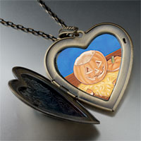 Necklace & Pendants - jack olantern carving large photo heart locket pendant necklace Image.