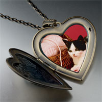 Necklace & Pendants - cat yarn large photo heart locket pendant necklace Image.