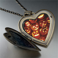 Necklace & Pendants - jack o lanterns large photo heart locket pendant necklace Image.
