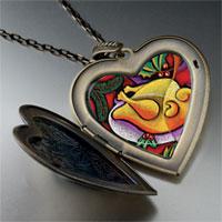 Necklace & Pendants - modern art turkey dinner large photo heart locket pendant necklace Image.