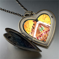 Necklace & Pendants - christmas gingerbread house large photo heart locket pendant necklace Image.