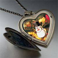 Necklace & Pendants - heart locket pendants christmas gifts snowman ornament large photo heart locket pendant necklace Image.