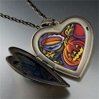 Necklace & Pendants - jack o lantern art large photo heart locket pendant necklace Image.