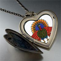 Necklace & Pendants - folk art turkey large photo heart locket pendant necklace Image.