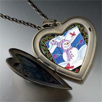 Necklace & Pendants - heart locket pendants festive christmas gifts snowman photo large heart locket pendant necklace Image.