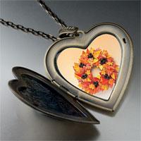 Necklace & Pendants - autumn leaf wreath large photo heart locket pendant necklace Image.