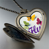 Necklace & Pendants - butterfly large photo heart locket pendant necklace Image.