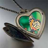 Necklace & Pendants - butterfly close up large photo heart locket pendant necklace Image.