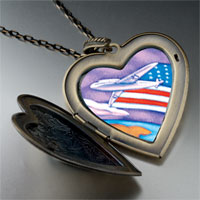 Necklace & Pendants - usa flag plane large photo heart locket pendant necklace Image.